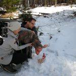 On Set Dreh im Schnee mit Zombie-Reh