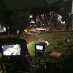 Dreharbeiten mit Dummie movieSFX Schwerthelm Ziehfreund
