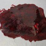 SFX Blutlache zum auf den Boden legen / Blut ist fest und sieht nur frisch aus / Lieferbar in ganz frisch ,leicht geronnen (Bild), stark geronnen.